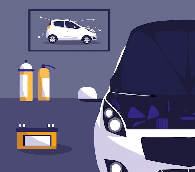 Automobile bianca nell'officina di manutenzione