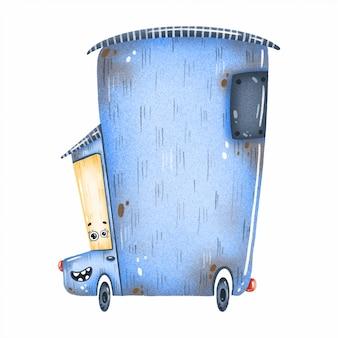 Automobile blu dell'annata capricciosa sveglia con gli occhi su una priorità bassa bianca