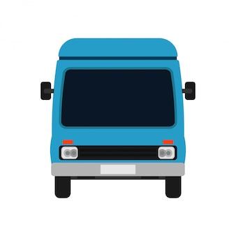Automobile blu dell'illustrazione di vista frontale di van