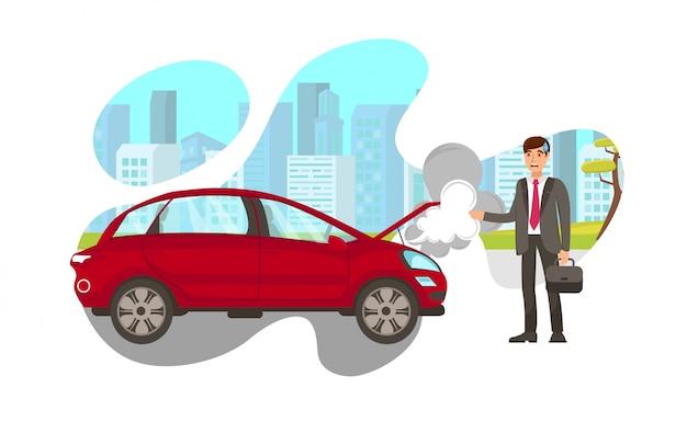 Automobile che cuoce a vapore sull'illustrazione piana di vettore della strada
