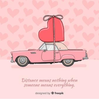 Automobile che trasporta il fondo del biglietto di s. valentino del cuore