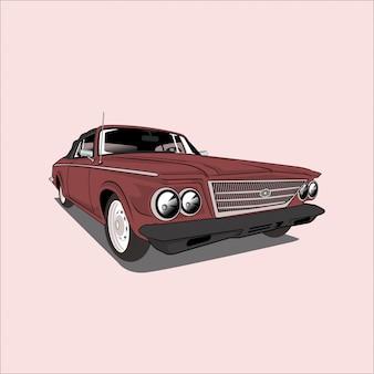 Automobile classica dell'automobile del salone dell'illustrazione di vettore retro