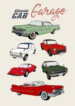 Automobile classica, vettore di schizzo di tiraggio della mano.