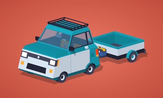 Automobile compatta isometrica lowpoly blu 3d con il rimorchio