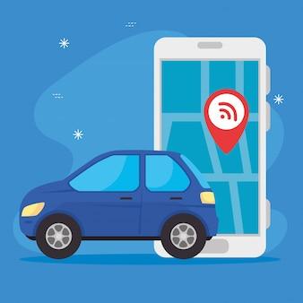 Automobile con lo smartphone facendo uso della progettazione dell'illustrazione di vettore di app dei gps