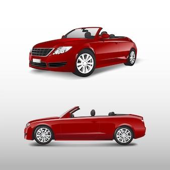 Automobile convertibile rossa isolata sul vettore bianco