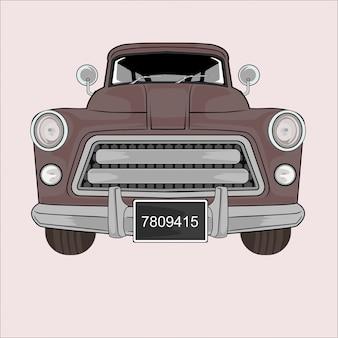 Automobile d'annata classica dell'illustrazione del fumetto retro