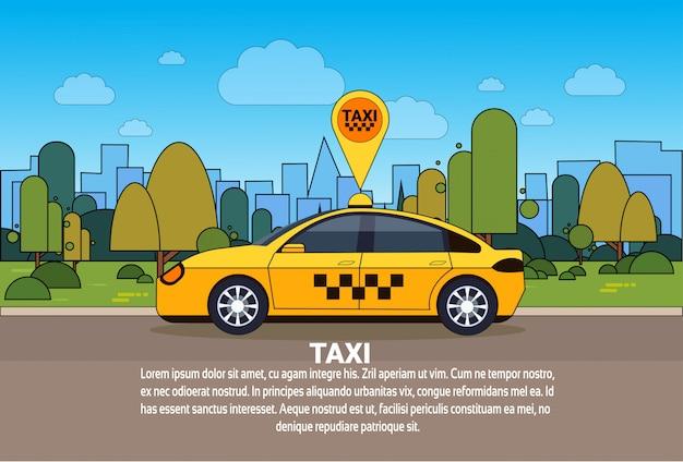 Automobile del taxi con il segno di posizione dei gps sul concetto online di servizio della carrozza di itinerario di ordine