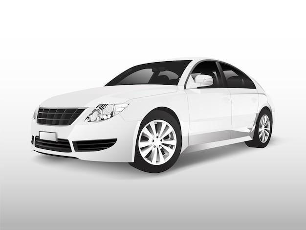 Automobile di berlina bianca isolata sul vettore bianco