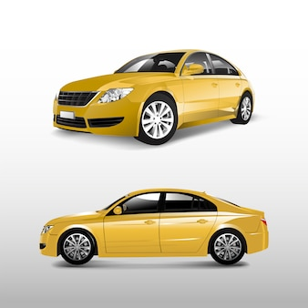 Automobile di berlina gialla isolata sul vettore bianco