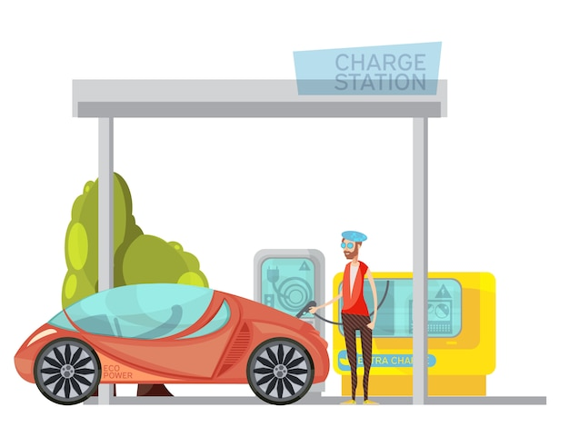 Automobile elettrica amichevole di eco e il suo proprietario alla stazione di carica su fondo bianco