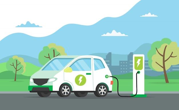Automobile elettrica che fa pagare la sua batteria con paesaggio naturale, illustrazione di concetto per l'ambiente