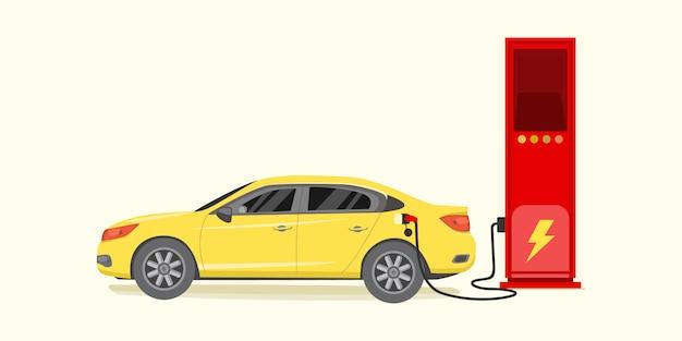 Automobile elettrica che si carica all'illustrazione di vettore della stazione del caricatore
