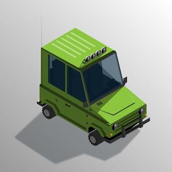 Automobile fuoristrada del fumetto isometrico. veicolo utilitario sportivo con ombra.