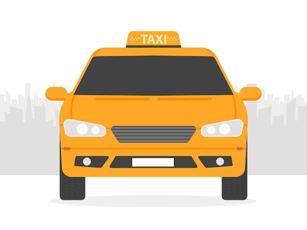 Automobile gialla del taxi davanti alla siluetta della città, illustrazione di vettore nella progettazione piana semplice