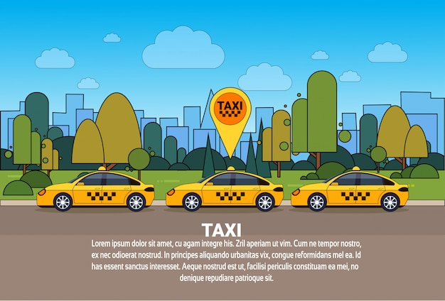 Automobile moderna del taxi con il concetto online di servizio di ordine della carrozza del segno di posizione dei gps