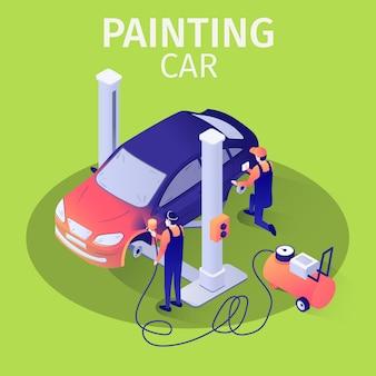 Automobile professionale della pittura dell'aerografo con la pistola di spruzzatura nell'insegna di servizio dell'automobile