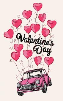 Automobile rosa con la carta di san valentino di molti palloni rossi