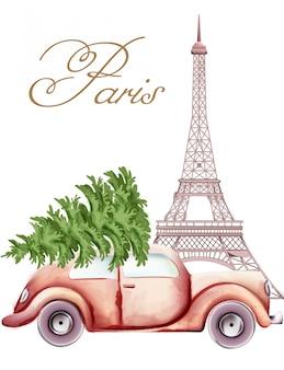 Automobile rossa con l'albero di natale sulla cima che passa dalla torre eiffel