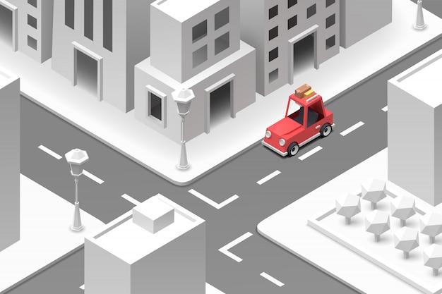 Automobile rossa nella città del libro bianco