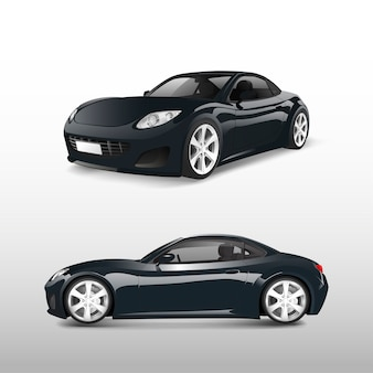 Automobile sportiva nera isolata sul vettore bianco
