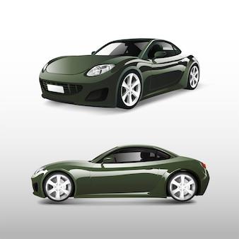 Automobile sportiva verde isolata sul vettore bianco