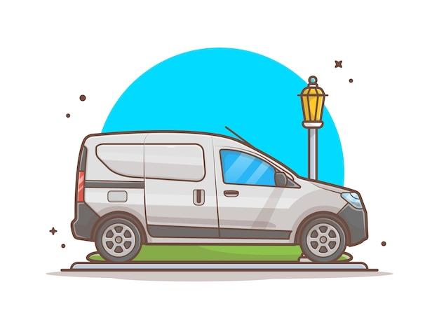 Automobile sull'illustrazione dell'icona della via. automobile e iluminazione pubblica, bianco dell'icona del trasporto isolato