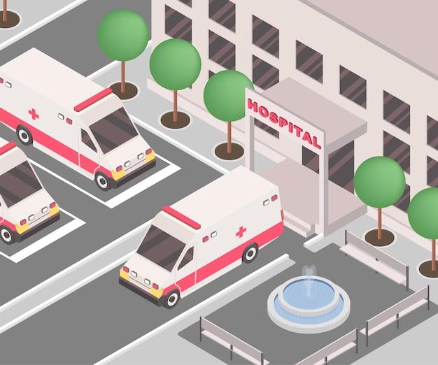 Automobili dell'ambulanza parcheggiate fuori dall'edificio della clinica