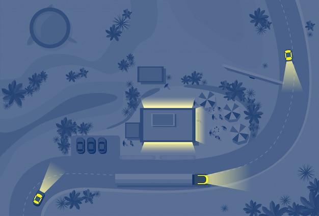Automobili delle luci notturne sulla vista di angolo superiore di concetto di traffico stradale