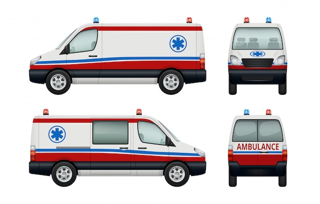 Automobili di servizio dell'ambulanza. varie vedute dell'ambulanza