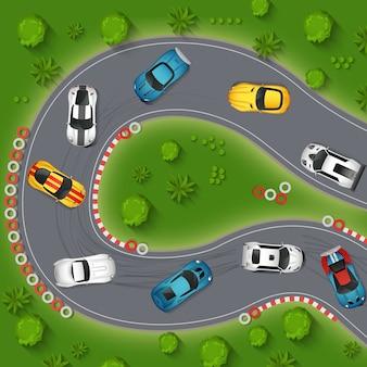 Automobili sportive che vanno alla deriva illustrazione di vista superiore