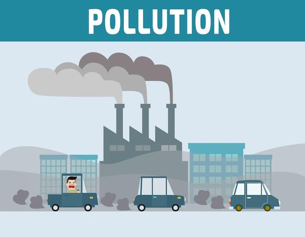 Automobilista in città con inquinamento atmosferico.