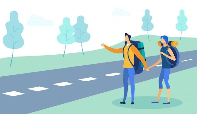 Autostoppista uomo e donna in viaggio con zaino.