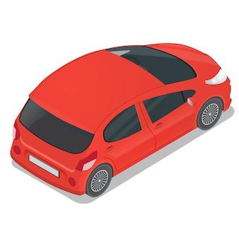 Autovettura a tre oa cinque porte rossa isometrica