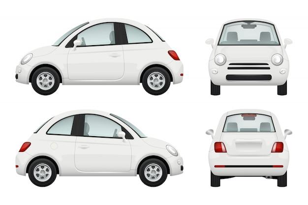 Autovettura. diverse viste realistiche illustrazioni di automobili