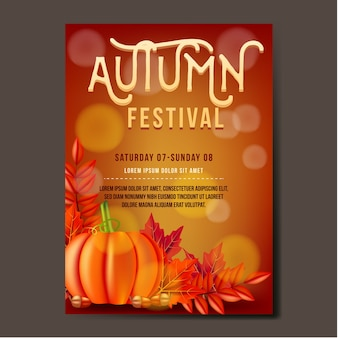 Autumn festival flyer template design con foglie