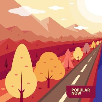 Autumn landscape road con alberi