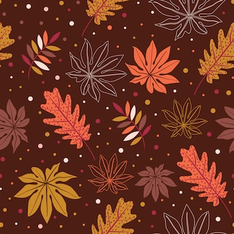 Autumn leaves seamless pattern background