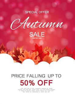 Autumn sale background astratto con le foglie di autunno di caduta