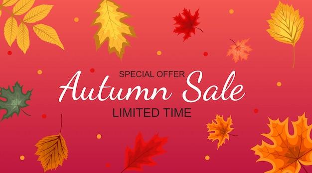 Autumn sale background astratto con le foglie di autunno di caduta.