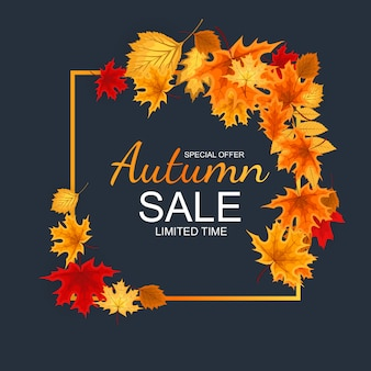 Autumn sale background astratto con le foglie di autunno di caduta.