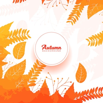 Autumn watercolor leaves background