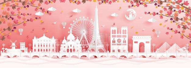 Autunno a parigi, francia con foglie d'acero che cadono e monumenti famosi del mondo