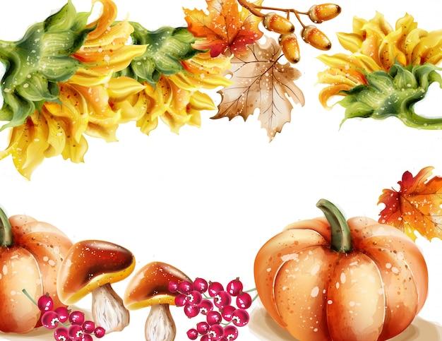 Autunno autunno cornice dell'acquerello