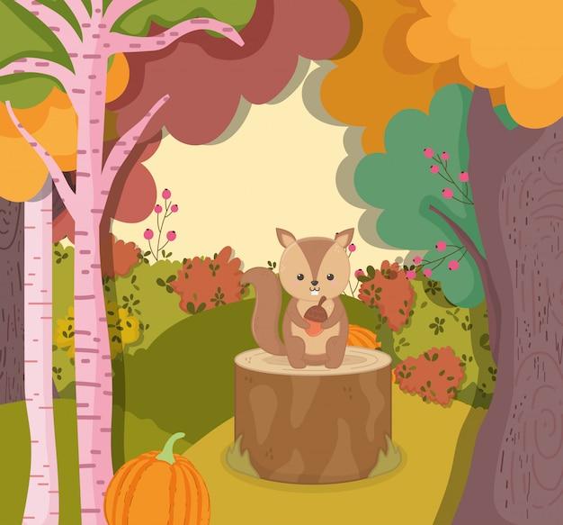 Autunno illustrazione di simpatico scoiattolo con ghianda seduto sul tronco