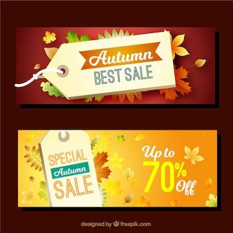 Autunno promozioni banner con foglie realistiche