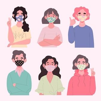 Avatar che indossano maschere di tessuto per la protezione