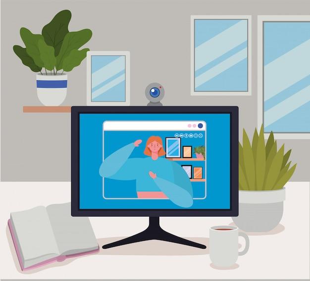 Avatar di donna sul computer in chat video