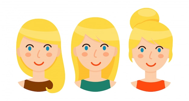 Avatar di donne bionde con diverse acconciature impostate