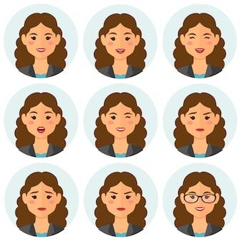 Avatar di espressioni di donna d'affari